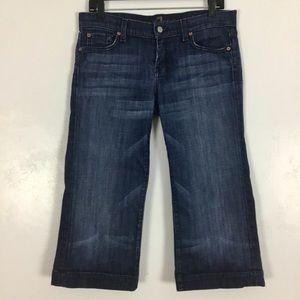 7 For All Mankind Dojo Crop Jeans Capri Blue 7FAMK